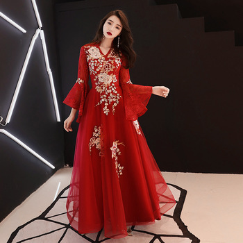 Embroidery Female Cheongsam Oriental Bride Mesh Gown Wedding Evening Party Dress Chinese Traditional  Lace china dress Qipao