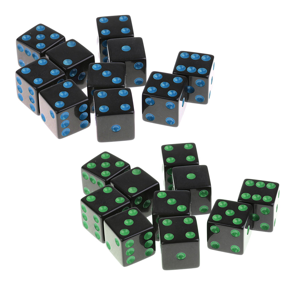 16mm Opaque Six Sided Spot Dice Games D6 4 Colours For D&D RPG MTG 20pc/set