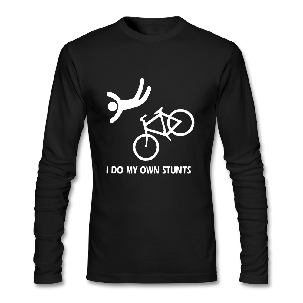 Cute Men T-shirt Round Collar Long Sleeved Tshirts I Do My Own Stunts Bike MTB Cotton for Male Crew Neck Print Casual Full Tops image