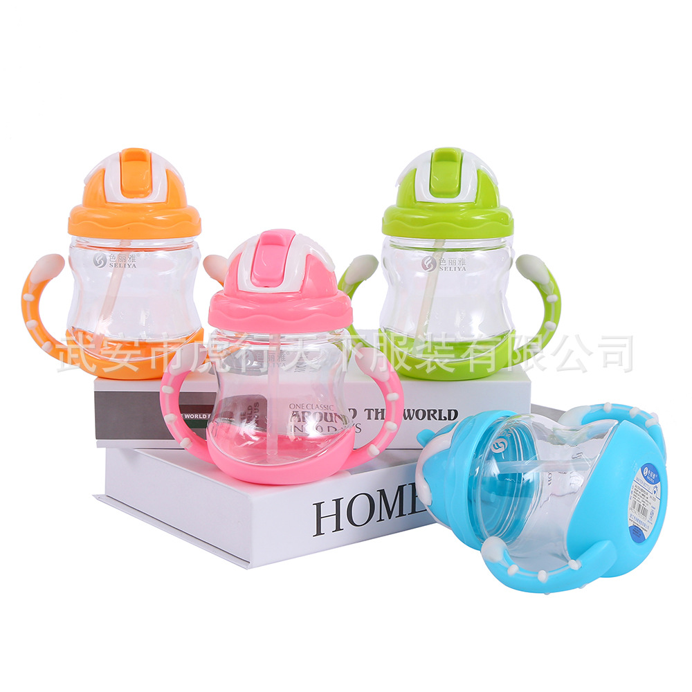 Double Color Ox Horn Handle Modeling CHILDREN'S Kettle Baby Cup Children Cup With Straw Baby Training Drink Glass
