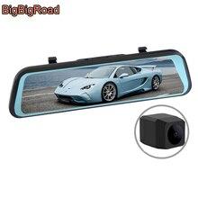 цена на BigBigRoad Car DVR Dash Camera Touch Screen Stream RearView Mirror Video Recorder For Dodge Caliber Avenger Challenger SRT Viper