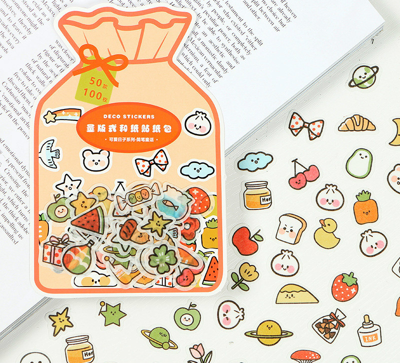 100PCS/LOT Cute Colorful Mini Sealing Stickers Pack Colorful Days Happy Me Lovely Kawaii Paper Stick