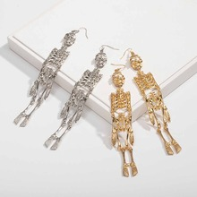 Halloween Skeleton Gold Earring Gothic Punk Skull Bone Silver Long  For Women Creative Personalized Jewelry