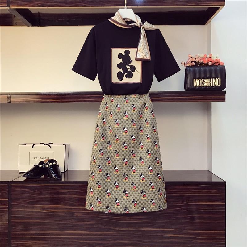 2020 New Summer Fashion Students Suits Bow O Neck Cartoon Short Sleeve T shirts + Sim Waist Casual Skirts All match Women Sets|Women's Sets| - AliExpress