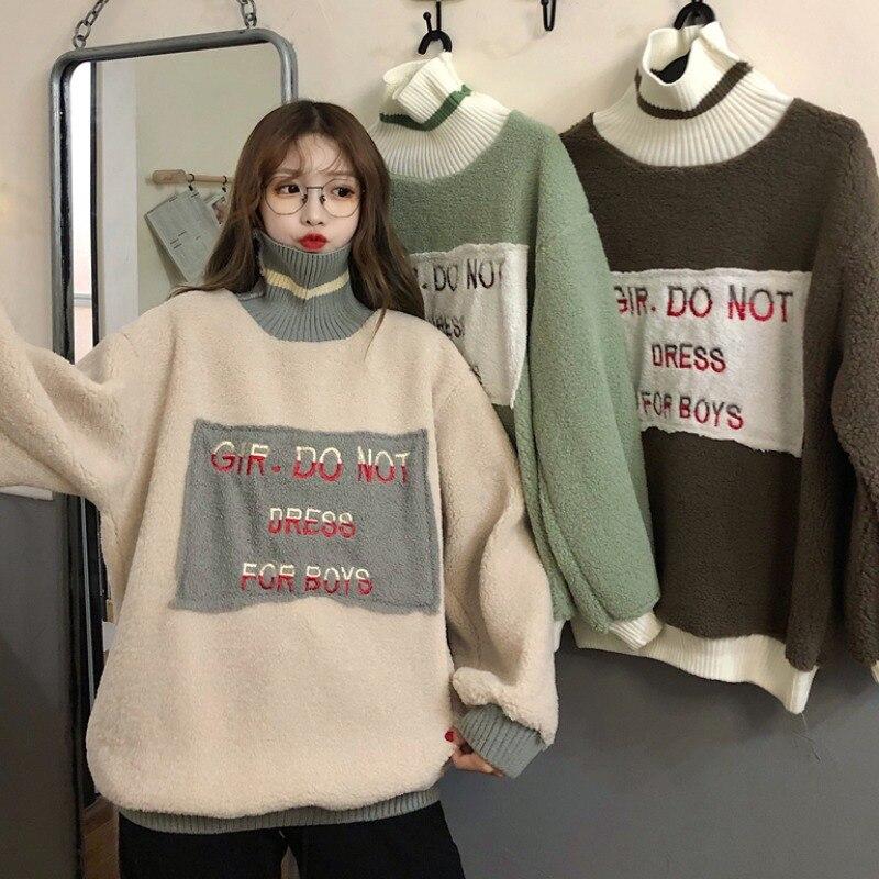 Купить женский свитер водолазка с буквенным принтом универсальные свободные