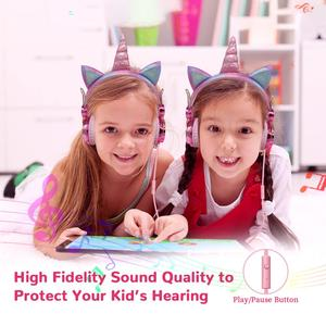 Image 2 - เด็กตลกชุดหูฟังที่มีสีสันเพชรยูนิคอร์นหูฟังสาวเพลงหมวกกันน็อคแบบมีสายหูฟังของขวัญกล่องChristmas Brithday