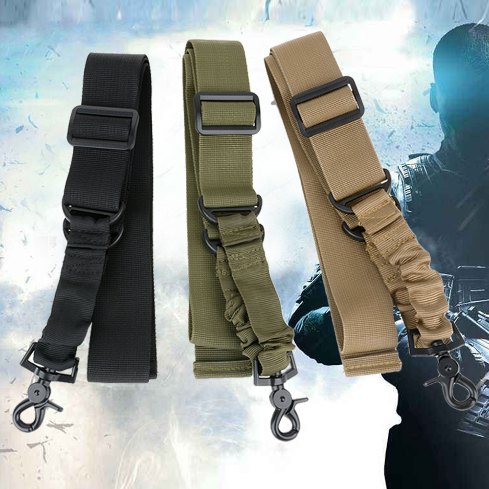 Adjustable Hunting Tactical One Two Point Bungee Rifle Gun Sling Strap Outdoor