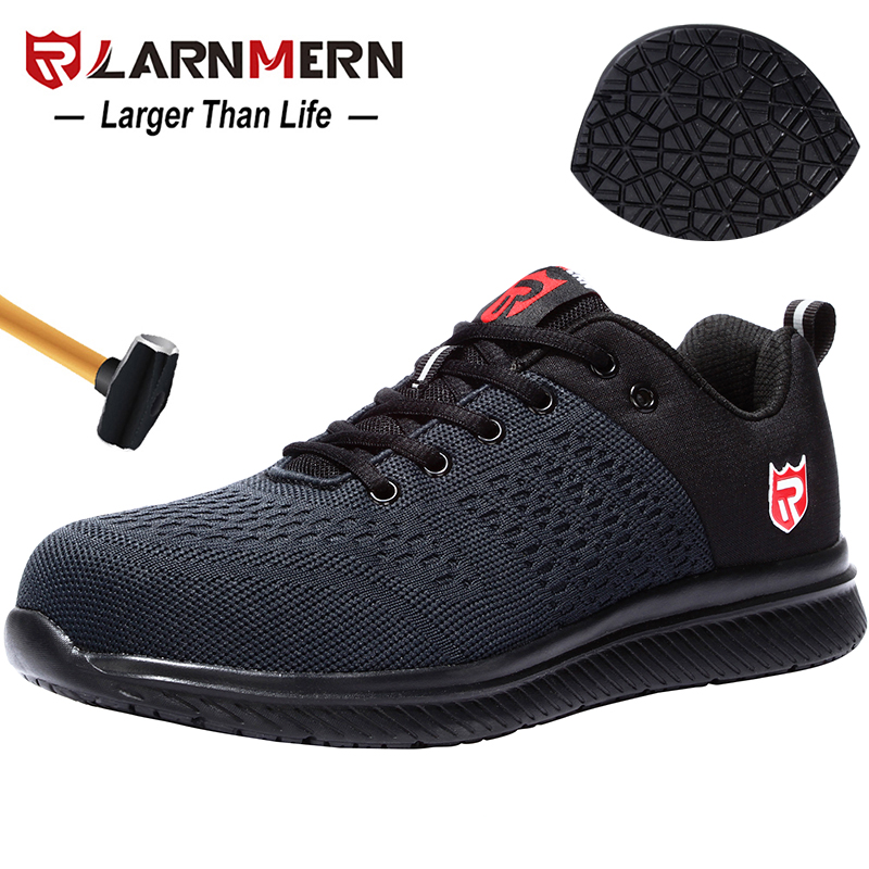 LARNMERN Mens Safety Shoes Steel Toe Work Shoes Comfortable Lightweight Anti-Smashing Anti-puncture Construction Sneaker