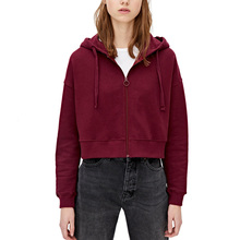 Autumn Wine Red Cropped Hoodie Women Thick Fleece Black Whit