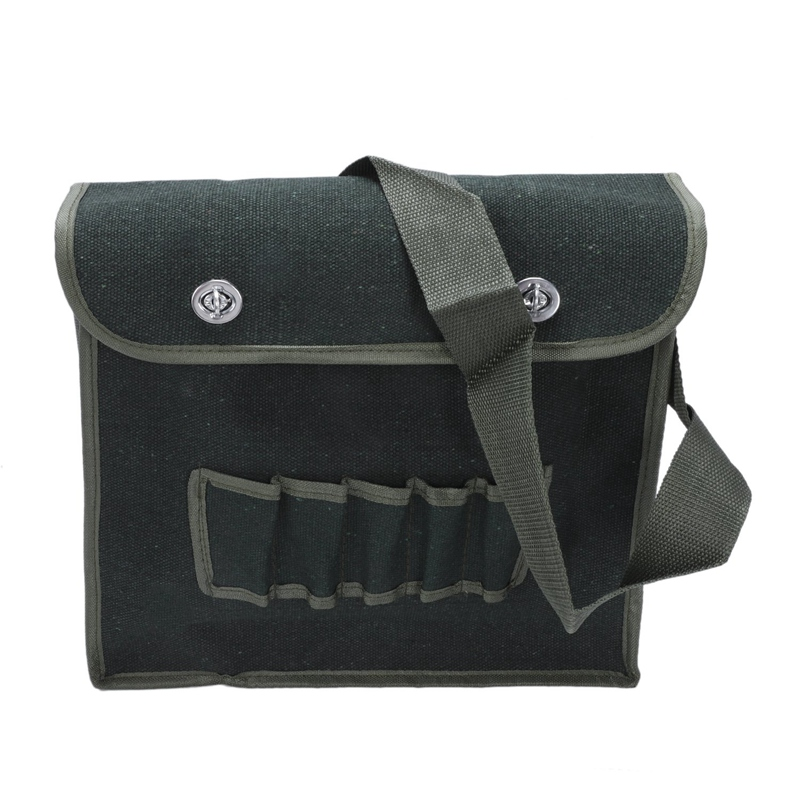 Multi Compartments Army Green Canvas Shoulder Tool Bag For Electricians