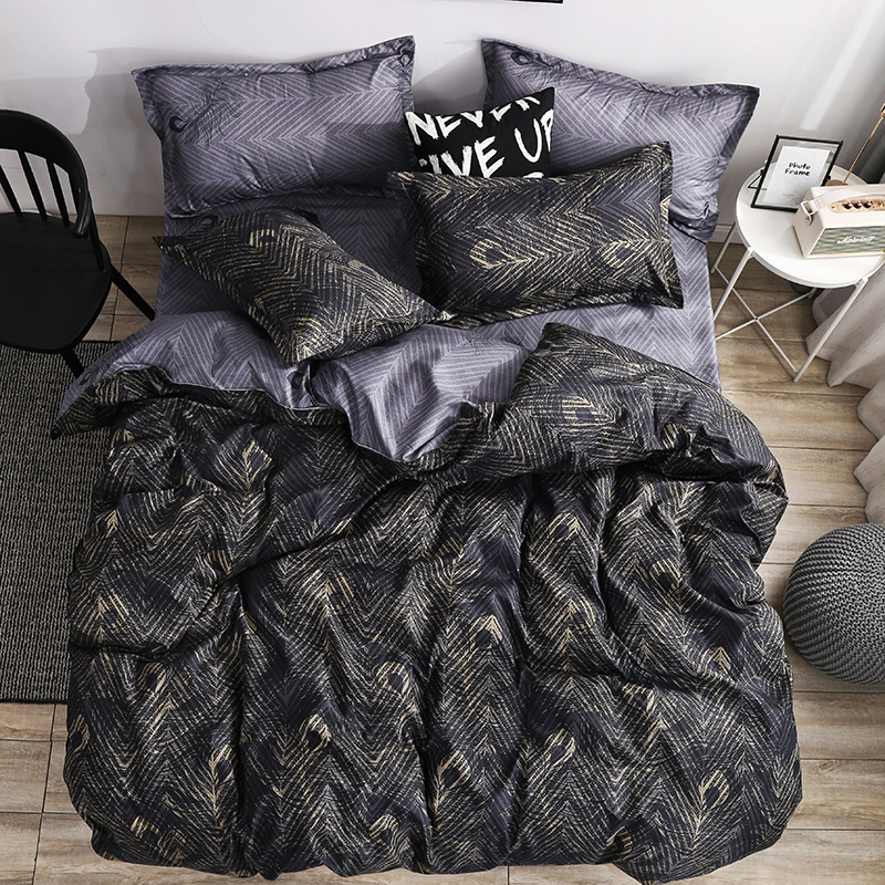 Peacock Feather Bedding Set Royal Duvet Cover Sets King Size Black Gold Luxury Style Bed Linens Standard Super Size Double Home(China)