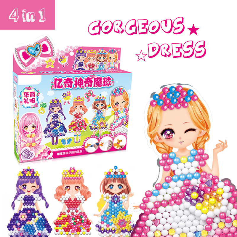 3D Water Sticky Beads Girl Toys Wedding Dress DIY 4in1 Crystal Color Water Spray Educational Toys Aqua Beads For Kids Gift