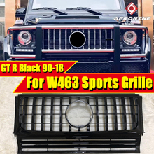 W463 GT R Style Front Mesh grille Grill Sports ABS gloss Black For MercedesMB G Class G500 G550 Look grills Without sign 1990-18