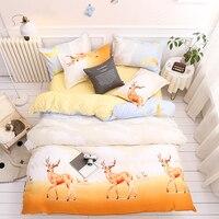 3/4pcs bedding set Christmas deer bed flat sheet+duvet cover+ pillowcase bed set home textile bed cover sheet pastoral No quilt