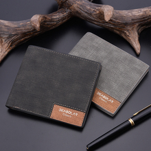 2019 minimalist men's short wallet retro youth wallet ultra-