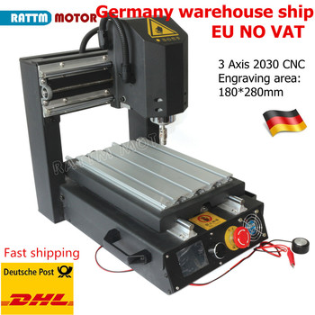 EU delivery desktop CNC Router Engraving Milling Machine 2030 3 axis with Emergency stop High-strength steel + 400W Spindle high quality 1pcs z axis sliding working table 150mm 60mm 3 axis diy milling linear motion for cnc engraving machine new