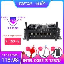 Aluminium Fanless 6 Lans Industriële Mini Pc Intel Core I3 7167U Firewall Pc Pfsense Router 4 * USB3.0 2 * RS232 Hdmi 4G/3G Wifi
