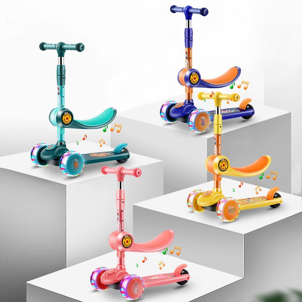 Детский 3-х колесный самокат с регулировкой по высоте, баланс координации учебный автомобиль с складные сиденья светодиодный вращающийся м...