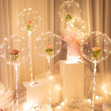 1 adet LED balonlar standı ile 20 ışık şeffaf balonlar noel süslemeleri ev düğün dekor için doğum günü partisi malzemeleri