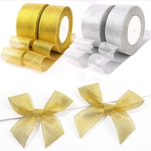 Золотая Серебряная лента 25 ярдов 22 м металлическая блестящая для свадебной вечеринки рождественские украшения для самодельного изготовления подарочная лента для торта