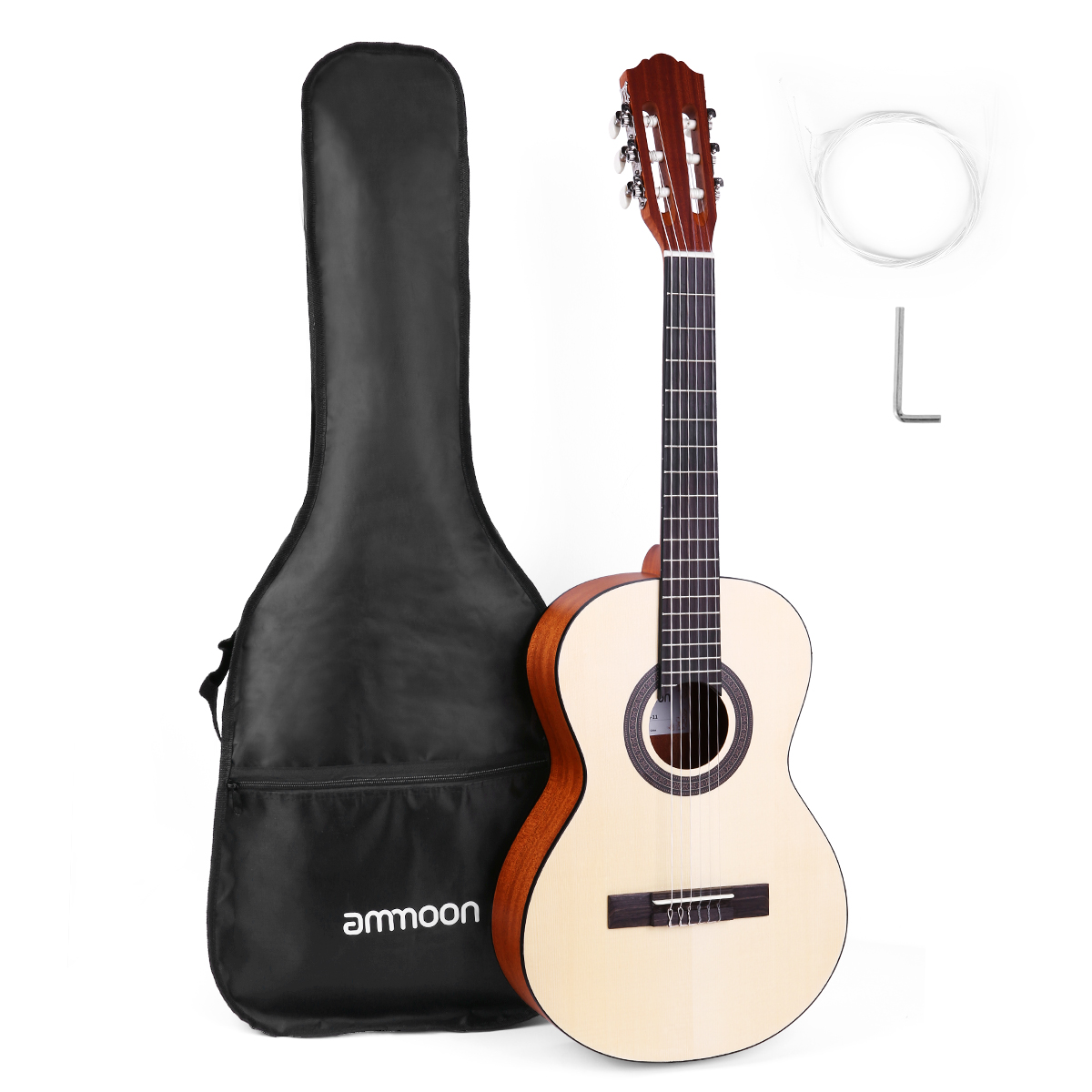 ammoon <font><b>36</b></font> Inch Acoustic Classical <font><b>Guitar</b></font> Travel Acoustic Classical <font><b>Guitar</b></font> Junior Size 6-String Spruce with Gig Bag Strings New image