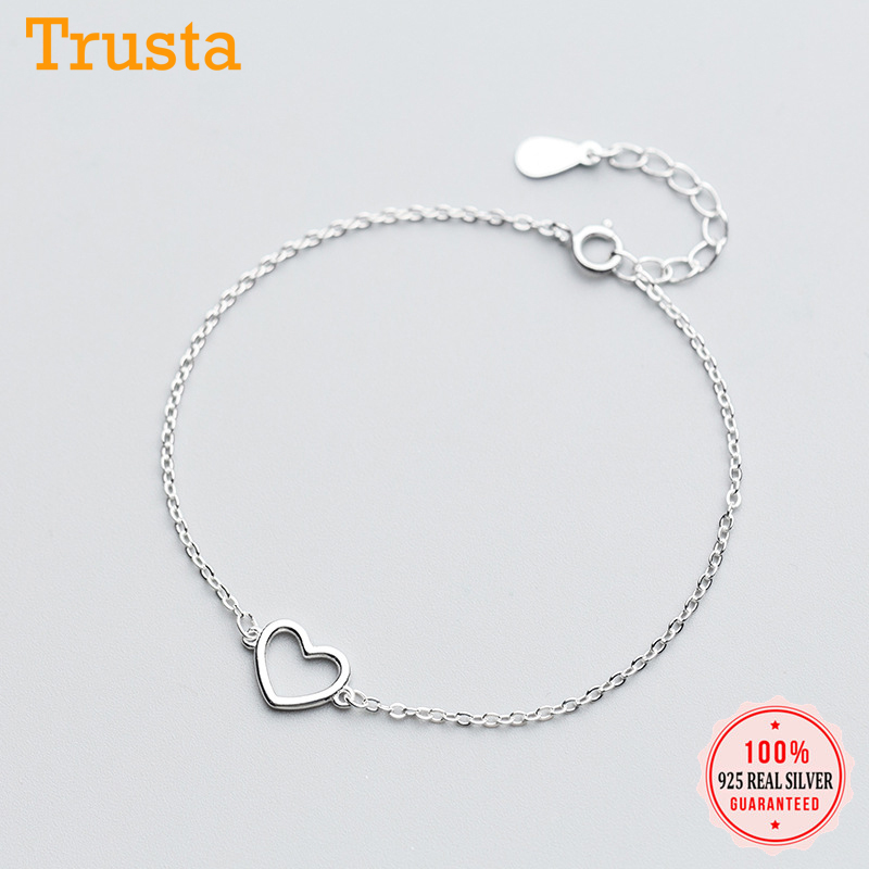Trusta 100% 925 Sterling Silver Fashion Women's Jewelry Hollow Heart Bracelet 15.5cm For Gift Girl Lady Drop Shipping DS568
