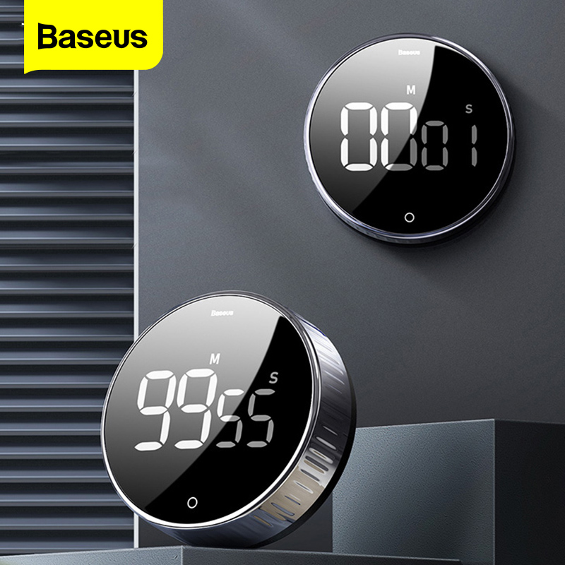 Baseus LED Digital Kitchen Timer For Cooking Shower Study Stopwatch Alarm Clock Magnetic Electronic Cooking Countdown Time Timer(China)