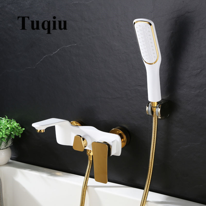 Tuqiu Bathtub Shower Set Wall Mounted Gold and White Bathtub Faucet, Bathroom Cold and Hot Bath and Shower Mixer Taps Brass