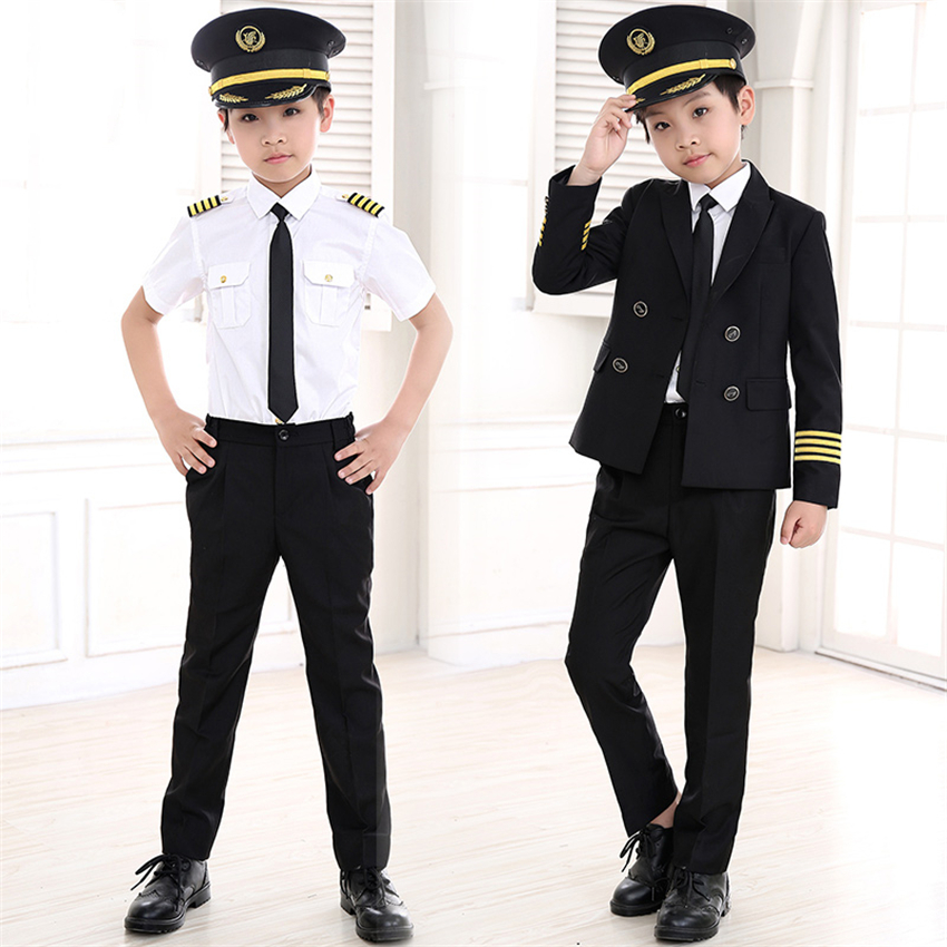 90-160cm Kids Pilot Costumes Carnival Halloween Party Wear Flight Attendant Cosplay Uniforms Children Aircraft Captain Clothes