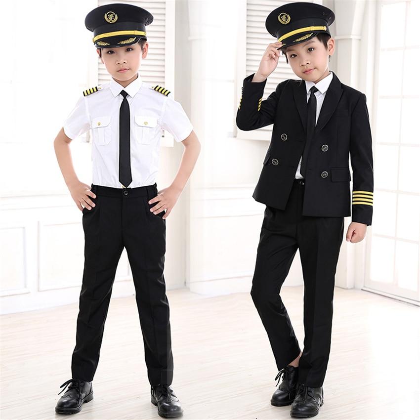 90-160cm Kids Pilot Costumes Carnival Halloween Party Wear Flight Attendant Cosplay Uniforms Children Aircraft Captain Clothes