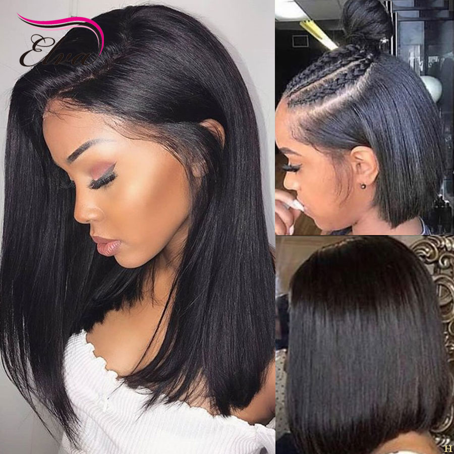 Elva Hair 180% Density Short Bob Straight 360 Lace Frontal Human Hair Wigs Remy Hair Pre Plucked With Baby Hair For Black Women