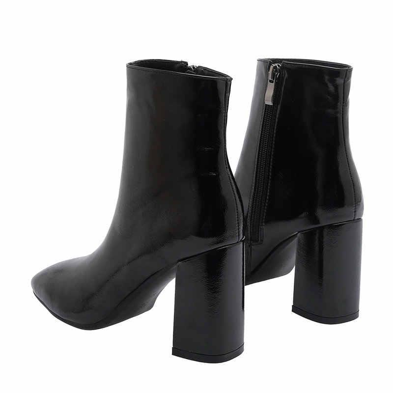 2019 Thu Giày Bốt Nữ Giả Da Cao Cấp Gót Ống Giày Bốt Thời Trang Vuông Mũi Dây Kéo Mùa Đông Giày Đen Trắng