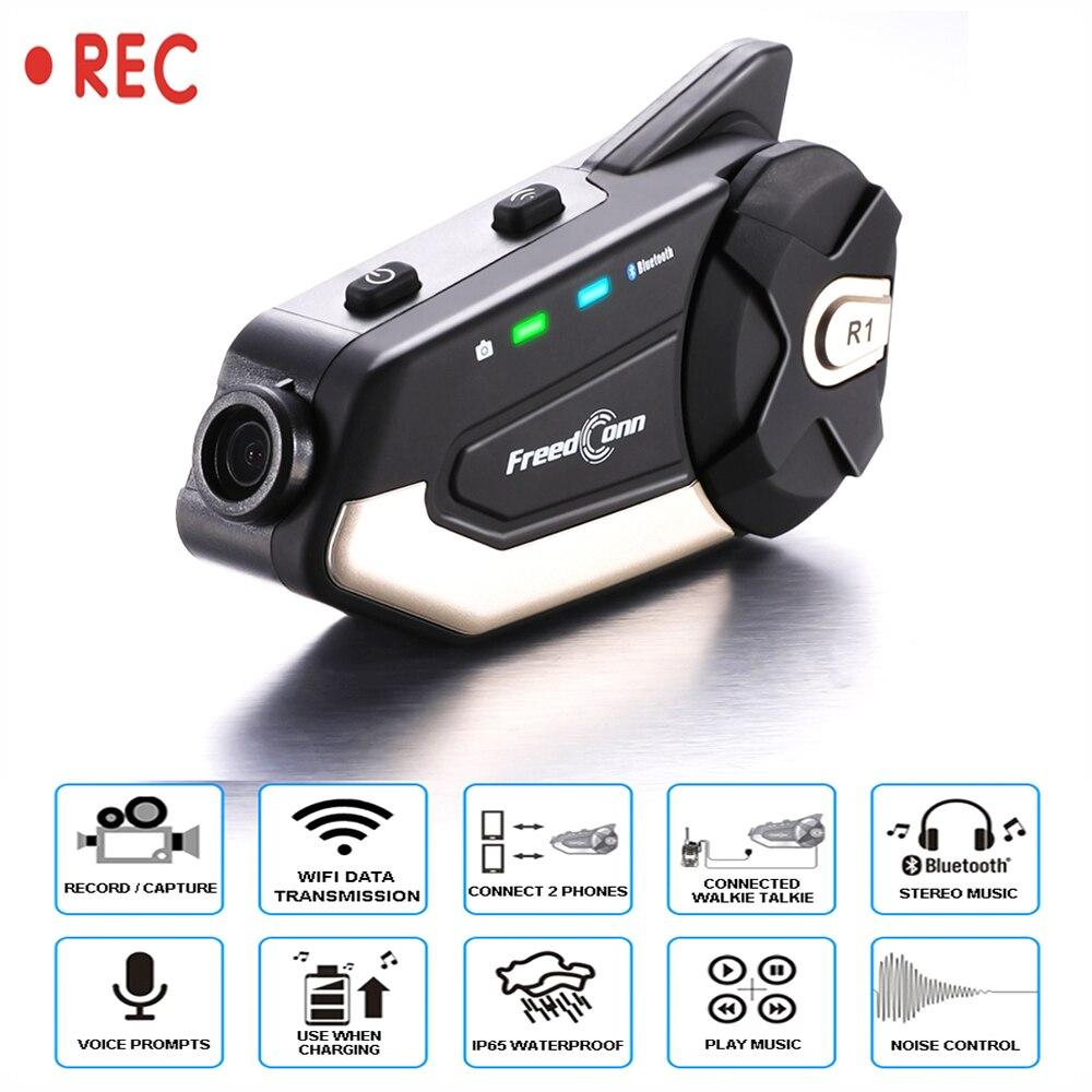 Motorcycle helmet Bluetooth Headset Camera 1080P HD Wireless WiFi Intercom Bluetooth 4.1 FREEDCONN App tacking for helmet rider