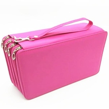 Large Capacity Pu Leather 168 Slots Multi-Layer Colored Pencil Wrap Storage Case Pouch Holder Stationery Organizers все цены