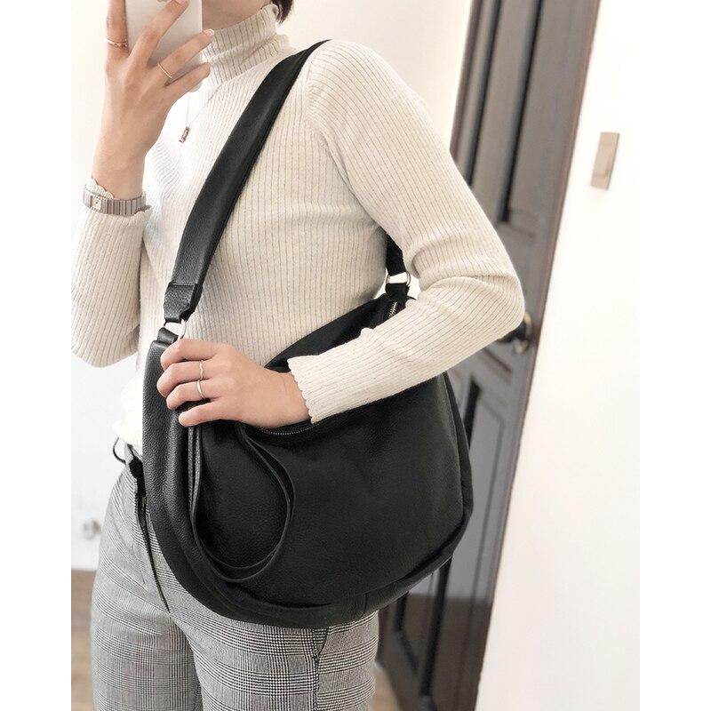100% Zacht Echt Leer Schoudertassen Voor Vrouwen Fashion Half Moon Handtas Hoge Quliaty Brede Schouderriem Crossbody Bag Lady