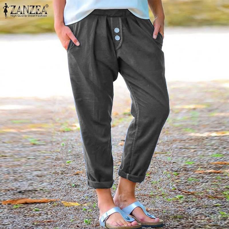 ZANZEA Women Autumn Harem Pants Casual Elastic Waist Solid Turnip Pants Vintage Trousers Cotton Linen Pantalon Lady Black Pants