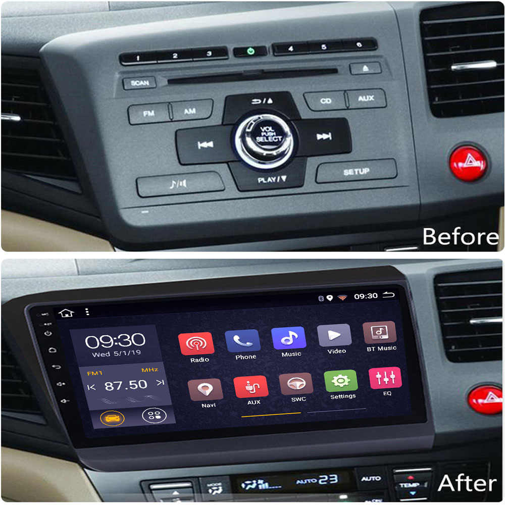 マルチメディアホンダシビック用の android のカーラジオプレーヤー 2012-2015 車両ヘッドユニットステレオコシェ自動 1din autoradio atoto