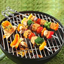 Outdoor 10/6 Stuks Rvs 410 Barbecue Spiesjes Camping Party Barbecue Grote Platte Teken Spiesjes(China)