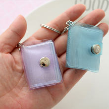 Mini Album Photo à paillettes transparentes, 1/2 pouces, avec porte-clés, carte de nom et autocollant, couleur gelée