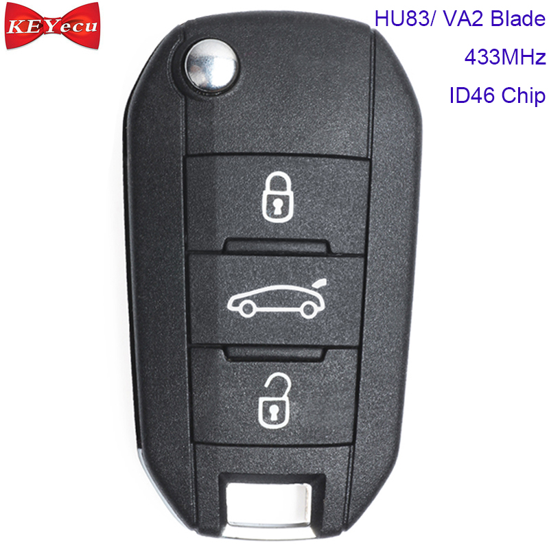 KEYECU for <font><b>Peugeot</b></font> <font><b>208</b></font> 2008 301 308 3008 408 4008 508 5008 Hella <font><b>Remote</b></font> Car <font><b>Key</b></font> Fob 3 Button 433MHz ID46 Chip HU83 / VA2 Blade image