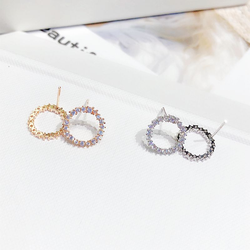 Delicate Simple Design Cubic Zirconia Paved Round Stud Earrings Rose Gold Color CZ Crystal Women Earrings