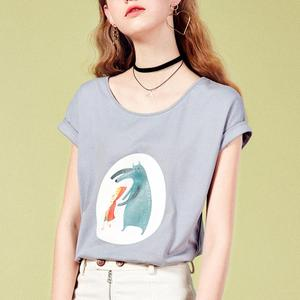 ARTKA 2019 Summer New Arrival 100% Cotton Women T-shirt Funny Cartoon Print O-neck Drop Shoulder Casual T-shirt TA11481X