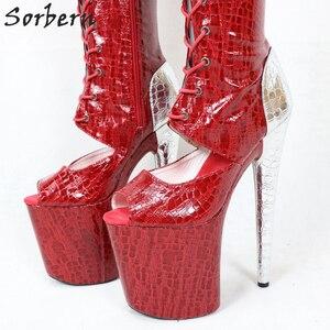 Image 4 - Sorbern cobra vermelha peep toe tornozelo botas mulher 20 cm sapato de salto alto rendas acima botas plataforma exótica sapatos stripper ins venda quente