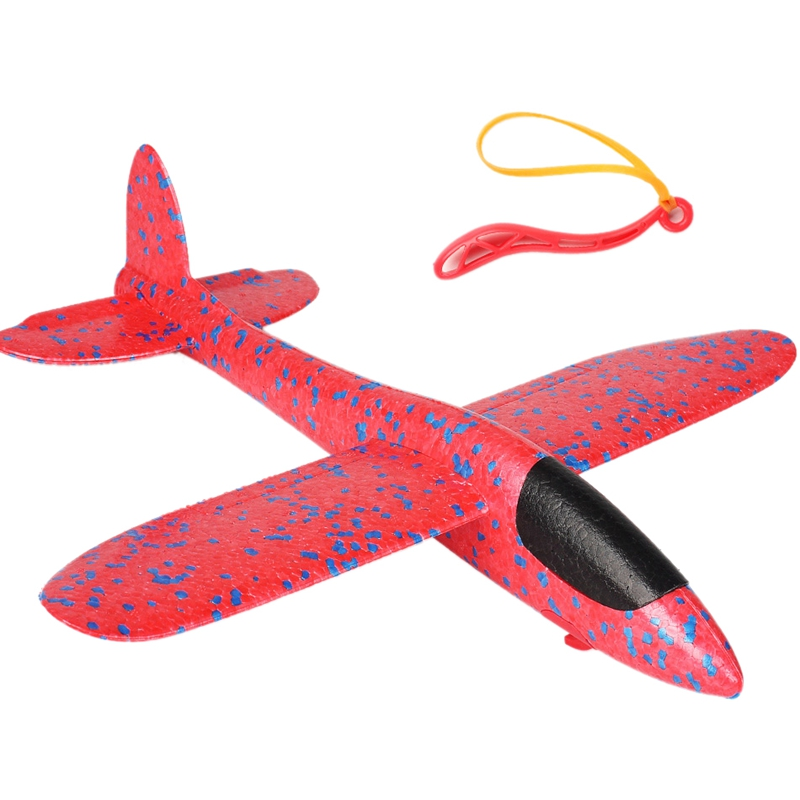 38CM EPP Foam Hand Throw Airplane Rubber Band Ejection Outdoor Launch Glider Plane Gift Toys for Children Kids Game Red image