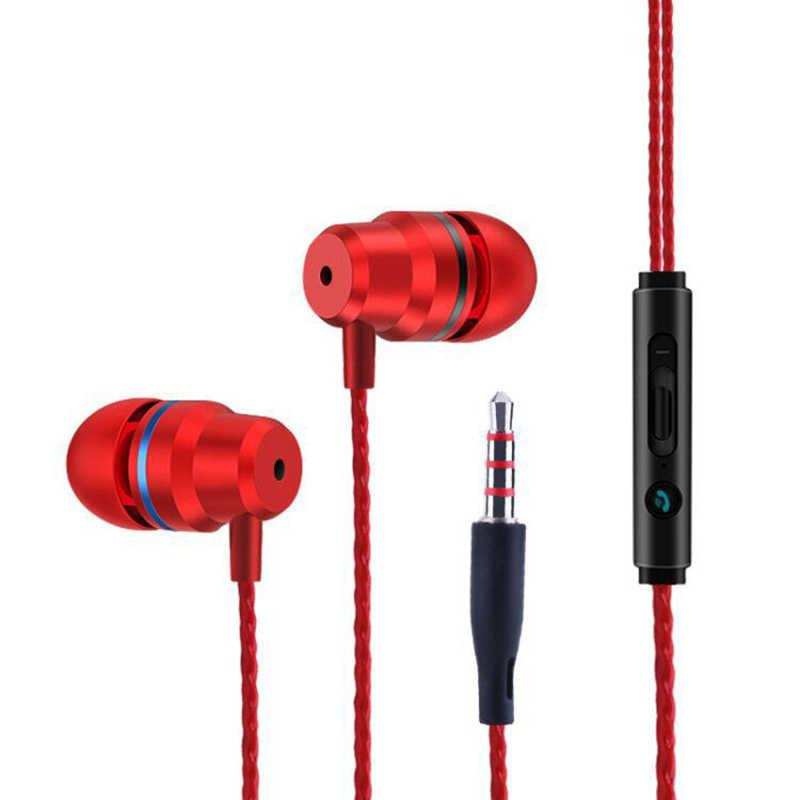 インイヤー有線イヤホンハイファイヘッドフォンを実行するための金属ヘッドセット低音ワイヤーイヤホン音楽携帯電話は、通話応答