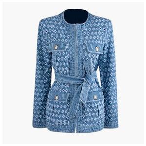Image 4 - TWOTWINSTYLE Streetwear חלול את ג ינס נשים של מעילי O צוואר ארוך שרוול כיס תחרה עד מעיל נשי סתיו אופנה חדש 2020