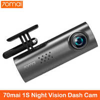Xiaomi 70mai cámara de salpicadero 1S APP voz en Inglés Control coche DVR 1080HD visión nocturna Cámara 70 mai cámara con grabadora para coche Cámara WIFI