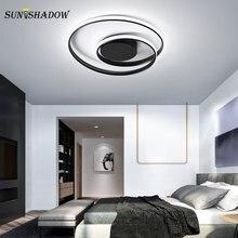 Armatürler Modern Led tavan ışıkları siyah ve beyaz Led avize tavan yatak odası için lamba oturma odası yemek odası aydınlatma armatürleri