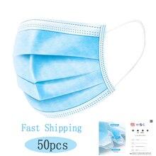 50 sztuk/partia włókniny jednorazowe maska Respirator 3 warstwy Earloop anti kurz dowód usta maski