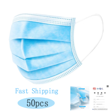 50pcs/lot Non Woven Disposable Face Respirator Mask 3 Layer Earloop Anti Dust proof Mouth Masks